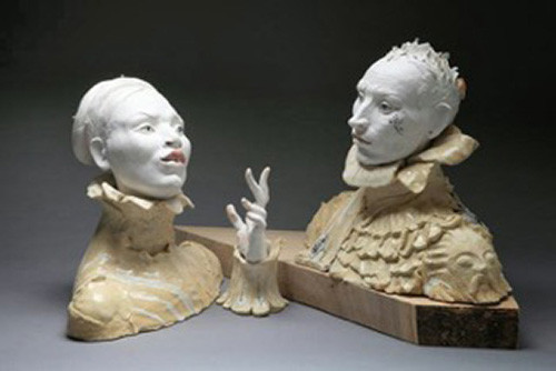 "Laila Farcas-Ionescu, Young Couple 1, Pporcelain, stoneware, engobes, glazes, silver, two parts: each 13"" x 15"""