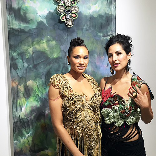 "Alicia Piller & Andrea Vargas-Mendoza, designers in front of their creation ""After Life (Tribute to Ana Mendieta)"" at Go For Baroque fashion show at David Richard Gallery in collaboration with @SimplySantaFeNM. (photo David Eichholtz)"