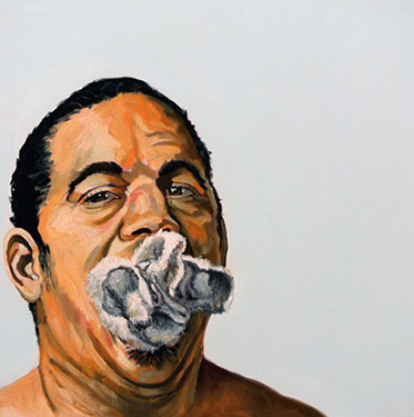 """Michael Dixon, Let Me Say That We Have Failed To Say Something To America Enough, 2015, Oil on canvas, 20"""" x 20"""" x 1.5"""", Copyright ©Michael Dixon"""