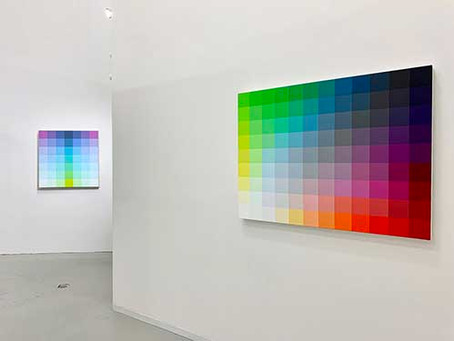 Robert Swain's scaled color studies for monumental series on view at David Richard Gallery