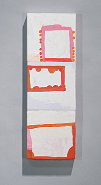 Terri Rolland, Three Ways, 2015, acrylic and clay paint, 18 x 6 x ¾""