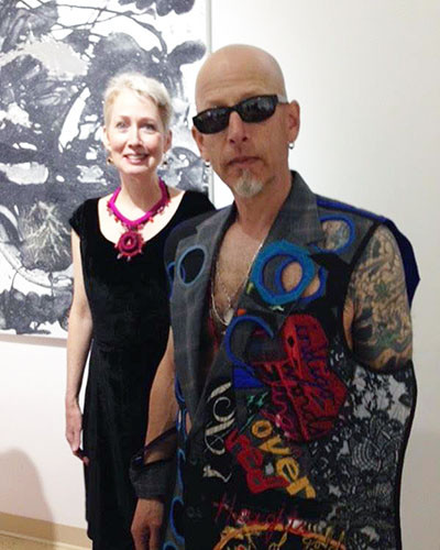 "Designer Kay Khan with model Mark Oppenheimer in her design ""Skin"" at Go For Baroque Fashion show at David Richard Gallery in collaboration with @SimplySantaFeNM"