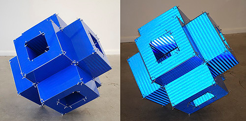 "Jack Slentz, Blue Tube, 2015, Aluminum sign material (outdoor reflective aluminum sign material), 24 x 24 x 24"". Left: ambient light, Right: spot light."