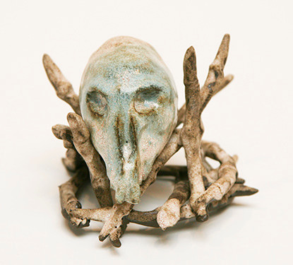 "Monte Coleman, Skull and Fingers 2014, Glazed stoneware, 3.5"" x 5"" x 5"""