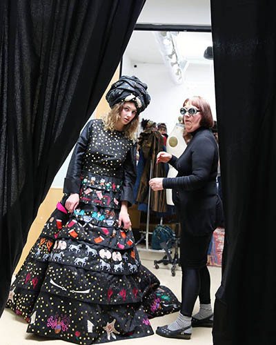 "Kathleen Ferguson-Huntington, Designer (right), ""The Mistress of Mercantile A Visual Codex of Silk Road Trade"" in Go For Baroque fashion Show at David Richard Gallery in collaboration with @SimplySantaFeNM. (photo by tseringchoney)"