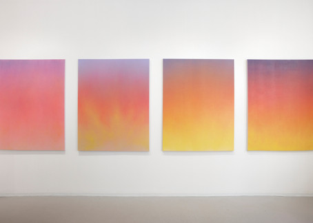 New ethereal and atmospheric color paintings by Isaac Aden on view at David Richard Gallery