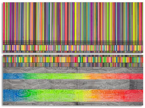 "Beverly Fishman, Untitled (Full Spectrum), 2012, Enamel on polished stainless steel, 60.5"" x 84"""