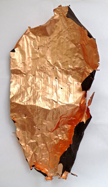 "Chris Collins, Sheet #3, 2015, Found object and Copper, 45"" x 22"" x 9"""