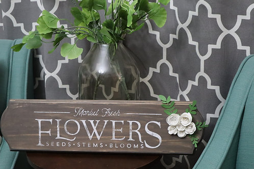 Hand Painted Flower Wood Sign