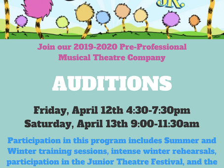 JTF Company Auditions for Seussical Jr. Announced!