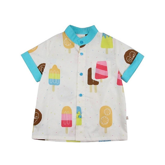 felix & mina summer short sleeve shirt with ice creme print
