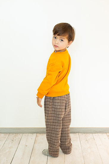 Scottish plaids design wool trousers with elastic waist
