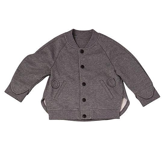 Sweat jacket, front button closure, baseball gray
