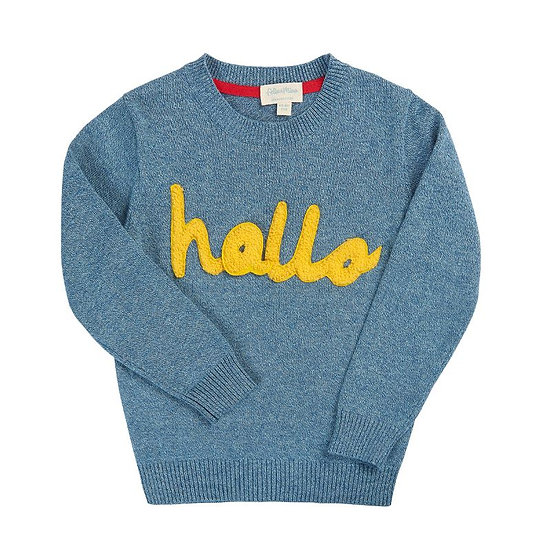 """sweater with """"Hallo"""" 3D embroidery applique"""