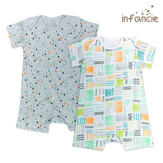 Set of 2 rompers with geometric print