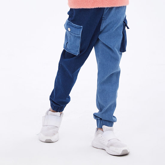 fashion duo colors matching side pockets jeans with contrast color design