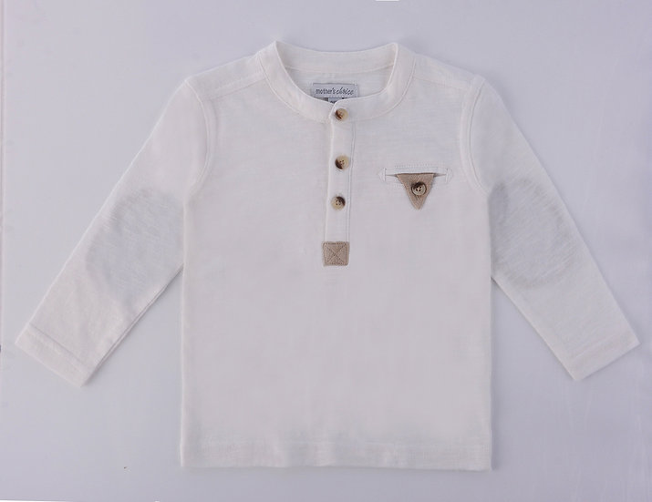 White jersey top with long sleeves