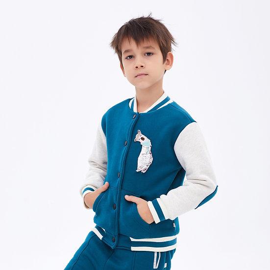 Baseball jacket with reversible sequined llama (aquamarine)