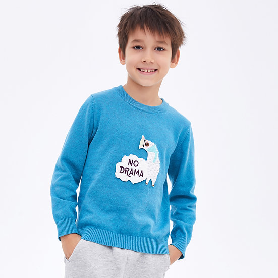 children's cotton knit with cute 3D llama embroidery applique