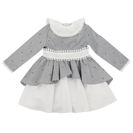 Dress with removable collar in gray/white