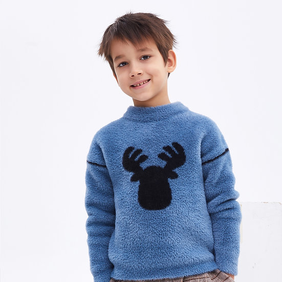 children's artificial fur knitwear with elk embroidery