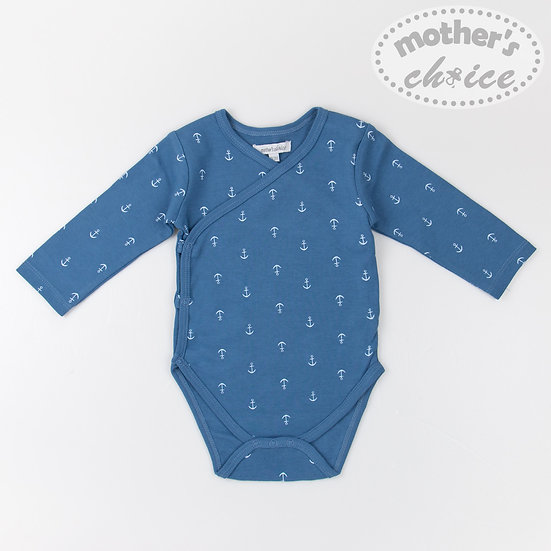 Long - sleeved bodysuit with anchors print