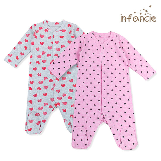 Jumpsuit 2 pack (pink hearts)