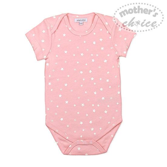 Pink star print s/s bodysuit