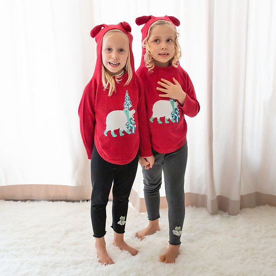 polar bear cotton knit with hoodie and cute bear ears