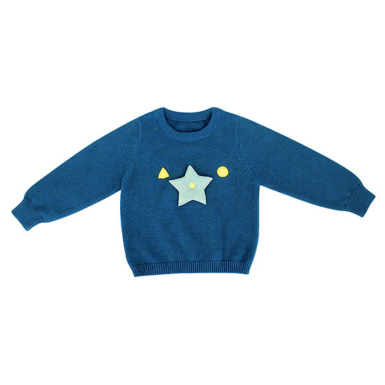 Sweater with playable star, round neck, blue green