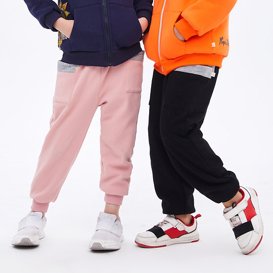 two layers winter sweatpants with contrast color and cotton lining