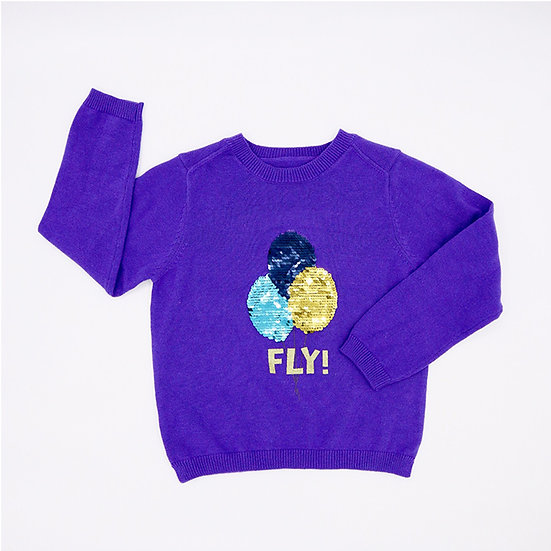 Sweater with reversible sequins Flying balloon, cotton, blue