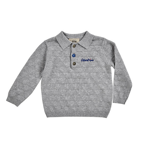 Boys sweater, contrast buttons, cotton, gray