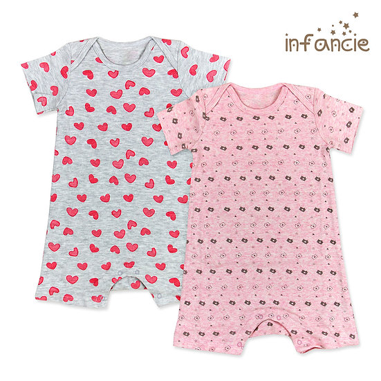 Set of 2 rompers with heart print