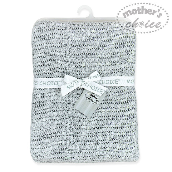 Knitted pure cotton blanket  grey