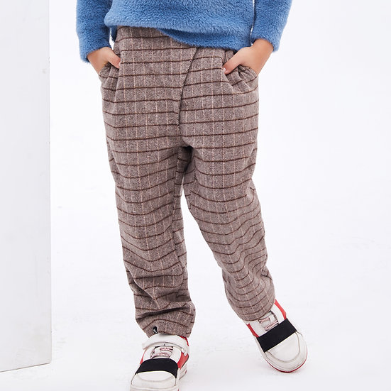 Scottish plaids inclined placket design wool suit trousers with elastic waist