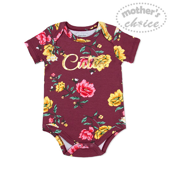 """""""Cute"""" print Floral bodysuit with short sleeves"""
