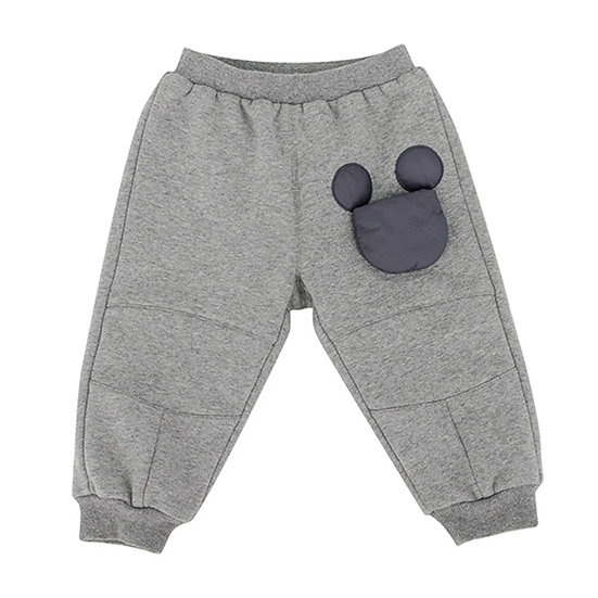 Sweat  trousers with movable Mickey Mouse bag gray