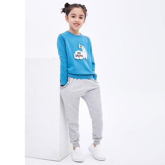 felix & mina girl's sweatpants with sweet ruffle lace pocket, coral