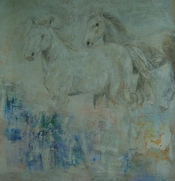 """Chevaux Farouches""(48x50"" (sold)."