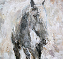 """""""Silver Horse"""" 22x24"""" (sold)."""