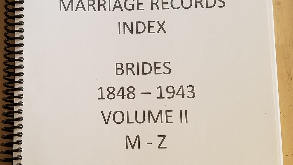 Cameron County Texas Marriages Records Index Brides 1848 - 1943 Vol II