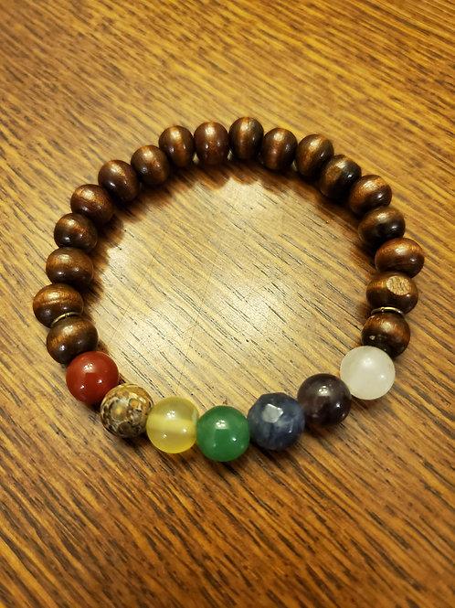 Chakra Bracelet With Pine Wood Beads