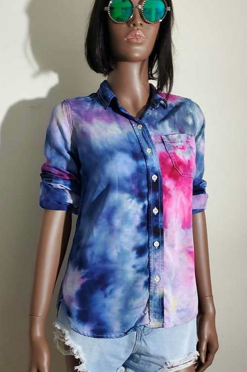 Rainbow Cloud Button Up (Small)