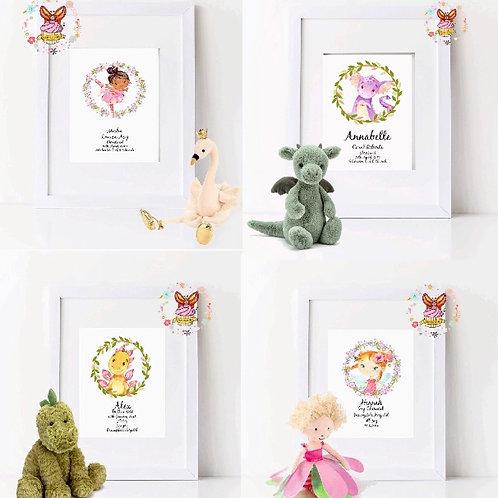 Childrens Print - Unicorn - Mermaid - Dino - Dragon - Fairy - Ballerina