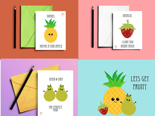 Fruity Cards - Pinapple Strawberry or Pear