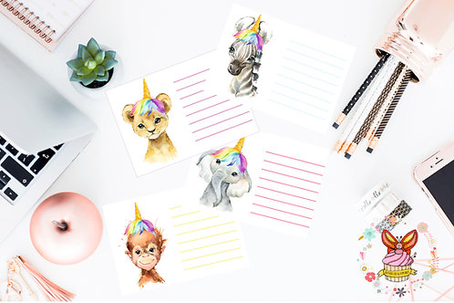 12 Unicorn Pets Thank You Cards
