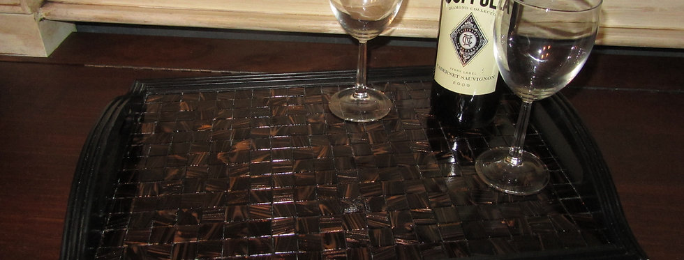 WOOD AND GLASS TILE TRAY