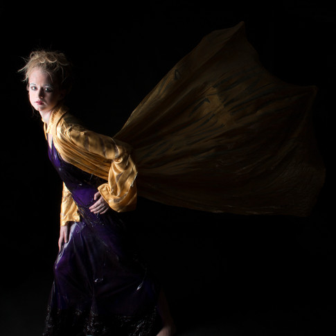 Letitia Hill, Golden Jacket and Purple Gown