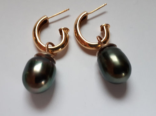 18k Gold Black Pearl Earrings